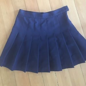 American Apparel Navy Pleated Mini Skirt - SMALL